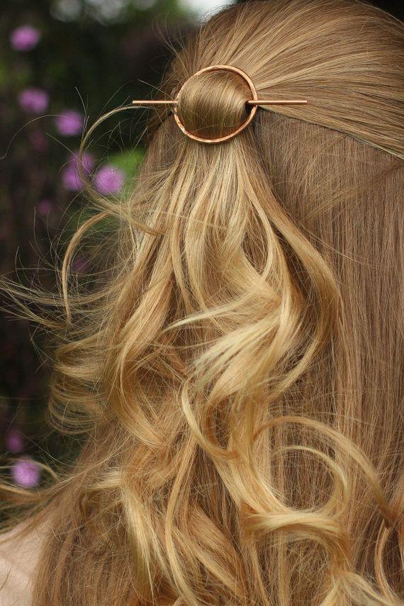 Open circle hair slide silver hair clip hammered brass door Kapelika