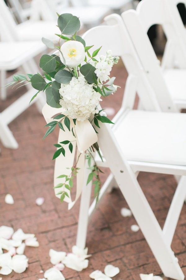 white and greenery themed wedding ceremony chair decoration ideas