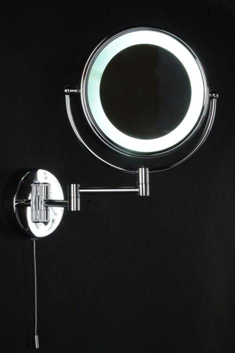 Een mooie dubbelzijdige scheerspiegel - make-up spiegel met energiezuinige verlichting. De wandspiegel heeft een normale spiegel en aan de andere zijde een 3x plus vergrotende spiegel. Badkamer make up spiegel .  Home interior lights / ONLINE SHOP : click on this LINK ( www.rietveldlicht.nl ) Verzendkosten gratis .