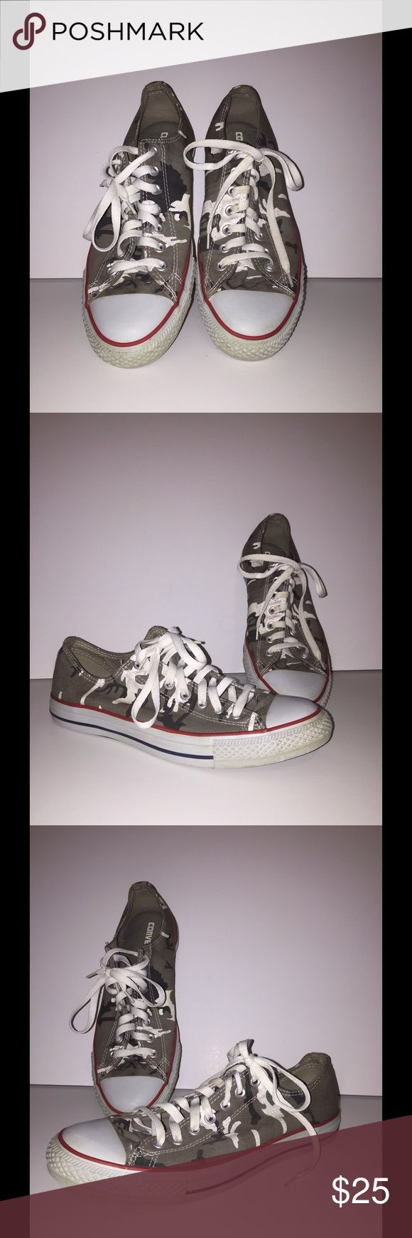 Men camo converse shoes size 10, chuck Taylor These are a pair of camo chuck Taylor, all star low shoes, size 10. The condition of the shows is worn (only a few times) however, shoes are still  in really great condition. Lots of life. Smoke/ pet free home.please email me any questions you may have. Converse Shoes Athletic Shoes