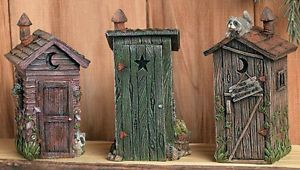 outhouse bathroom decor | Details about Set 3 OUTHOUSES Rustic Bathroom Accent Home Decor Privy