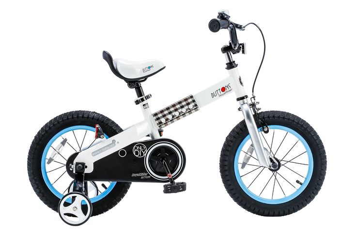 RoyalBaby Buttons Kid's Bike, Boy's Bikes and Girl's Bikes with training wheels, Gifts for children, 14 inch wheels, Blue
