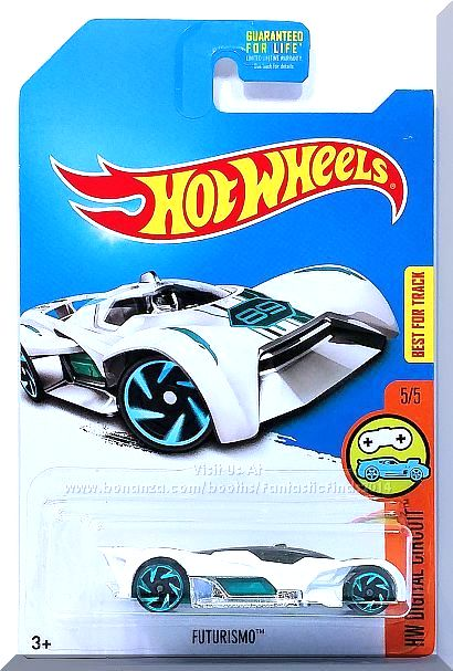 White, w/Teal interior, Tinted windows, Black & Metallic Blue Stripe Graphics on the Top, a Hot Wheels Logo on Top of Rear Wing, a #68 on the Front Deck, Teal Malaysia Base, w/BlueChrRA-6's. Only $7.59 with Free Shipping!