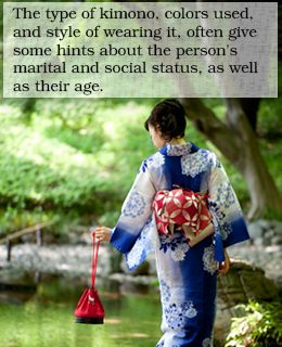 Status-the color and style of the Kimono usually tell a lot about the status of a person as well as their age