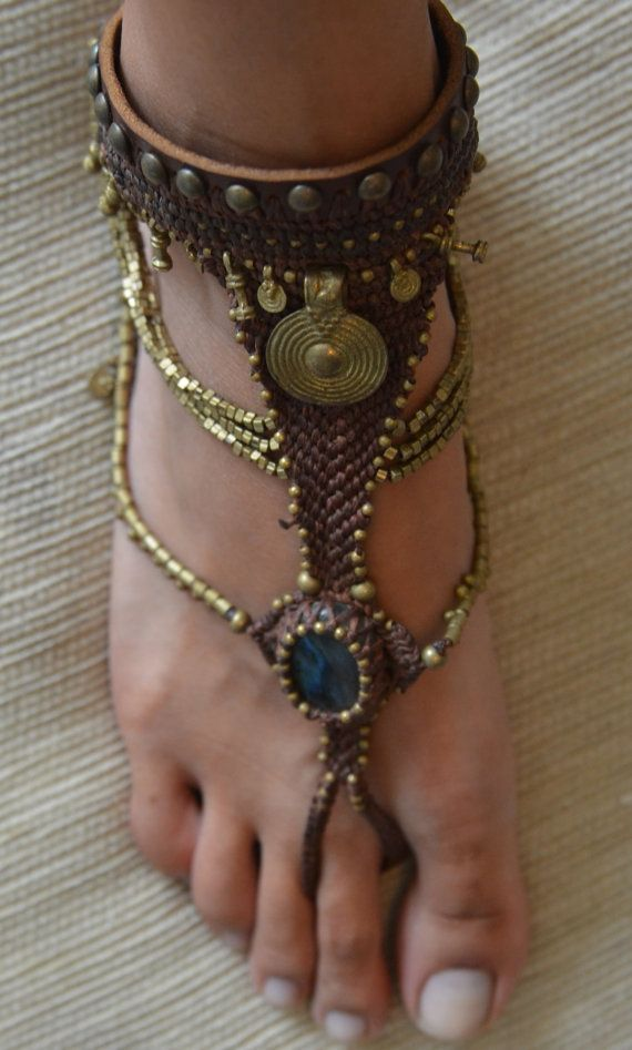 A Handmade leather and metal Sexy Barefoot by whereischloepark, $160.00