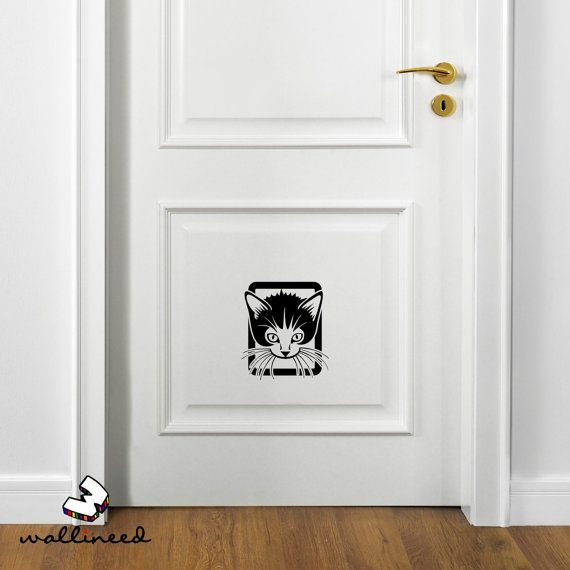 Check out this item in my Etsy shop https://www.etsy.com/listing/258464404/cat-door-decal-cat-flap-decal-funny-door