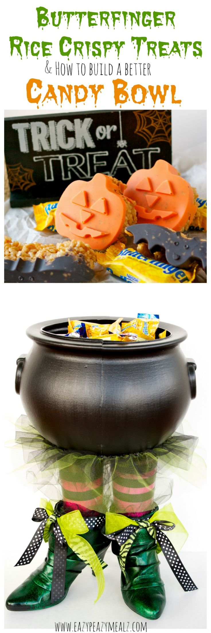 Butterfinger Halloween Rice Crispy Treats & How to Build A Better Candy Bowl - Eazy Peazy Mealz