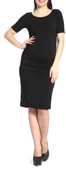 Women's Kimi And Kai Demi Ruched Body-Con Maternity Dress: Shirred sides add comfort and structure to a form-fitting maternity dress tailored in soft stretch jersey. Fashioned with a scooped neckline and short sleeves, it looks equally good dressed up for a night out or worn under a blazer for work.