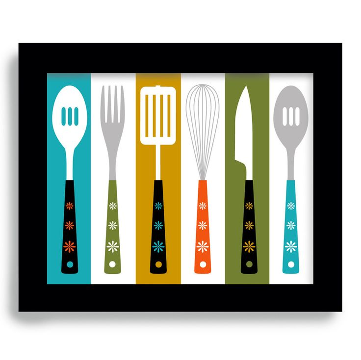 Mid Century Modern - Kitchen Art - Cathrineholm  - Retro Kitchen Decor - Cooking Utensils. $18.00, via Etsy.