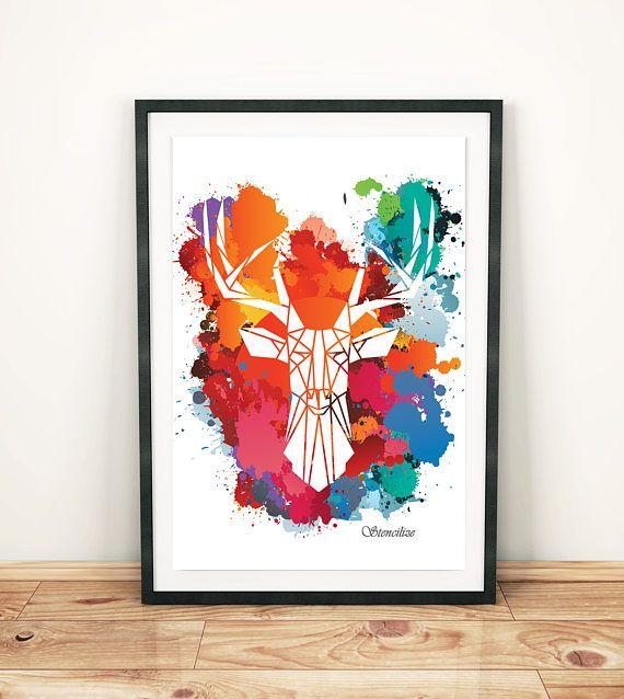 Heldere vet Art Print geometrische Stag afdrukken Cool hert