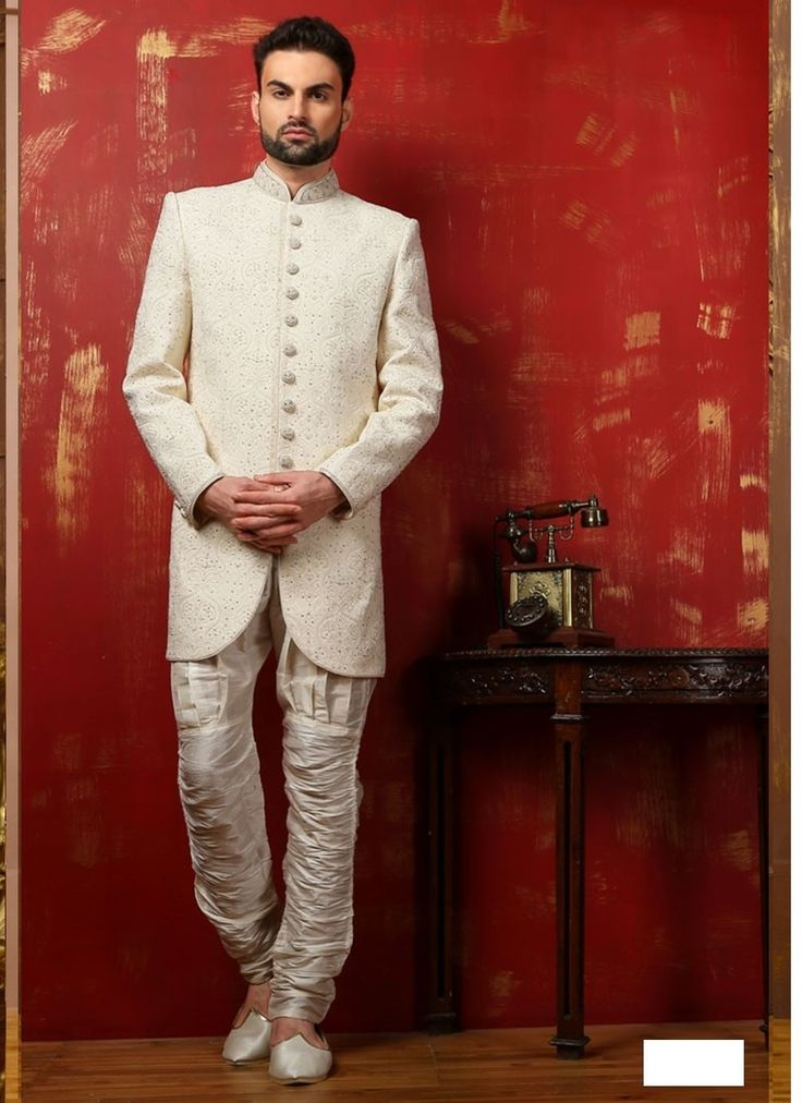 Off White Banarasi Brocade Silk Bridal Sherwani
