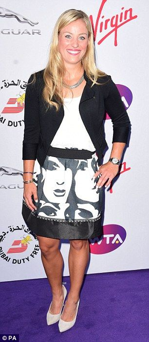 Monochrome mavens: Romania'sSimona Halep (left) kept it simple in a long-sleeved LBD, while Germany'sAngelique Kerber (right) went for a fun printed skirt