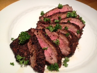 Grilled Sirloin Steak with Coffee Crust