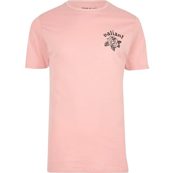 River Island Pink 'valiant' floral print slim fit T-shirt (58 BRL) ❤ liked on Polyvore featuring men's fashion, men's clothing, men's shirts, men's t-shirts, mens slim fit short sleeve shirts, mens floral print shirts, mens floral t shirts, mens slim shirts and mens slim fit shirts