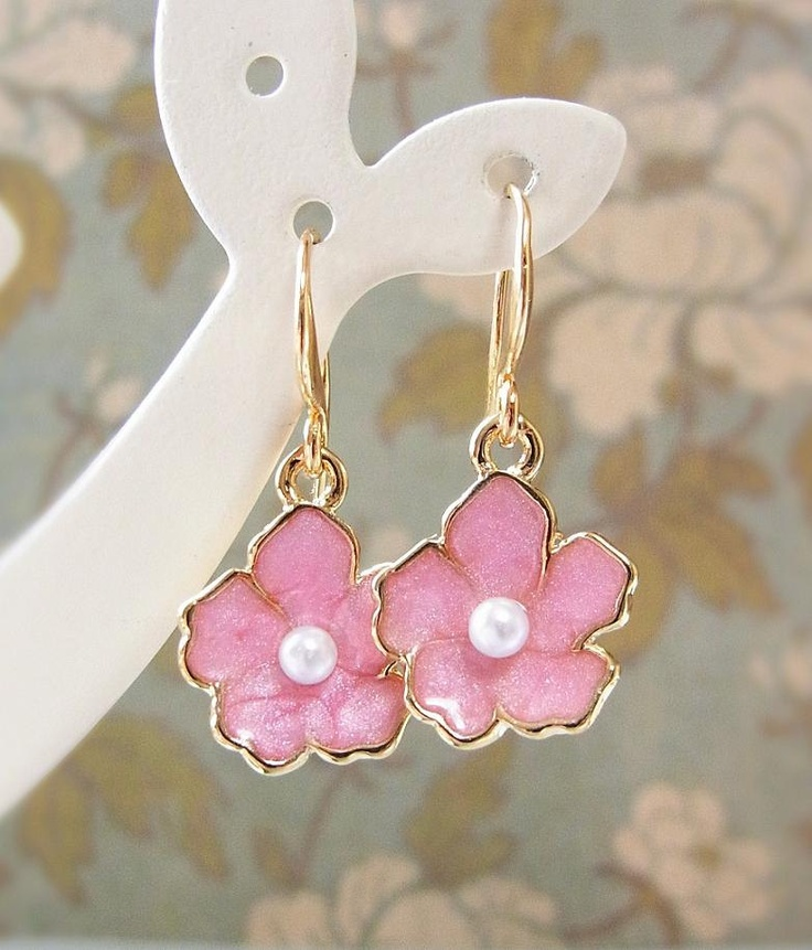 Sakura Earrings in pearly pink. Cherry Blossom. CocoroJewelry