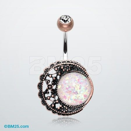 Vintage Boho Filigree Moon Opal Belly On Ring