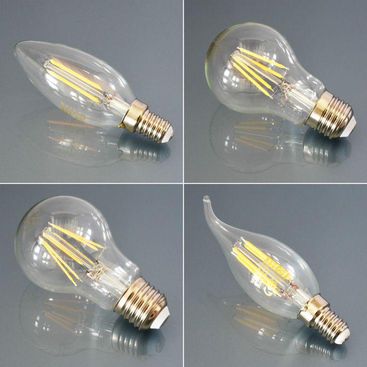 LED Leuchtmittel E27 E14 Lampe Glühbirne Windstoß Kerze Birne Filament Leuchte   eBay