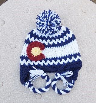 Crochet Colorado Flag hat Chevron hat Stocking hats by LuvBeanies