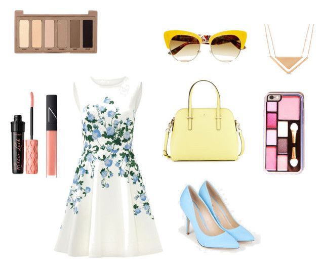 """Traveling in France"" by stylekittybeauty on Polyvore featuring moda, ERIN Erin Fetherston, JustFab, Kate Spade, Dolce&Gabbana, Allurez, NARS Cosmetics, Urban Decay e Benefit"