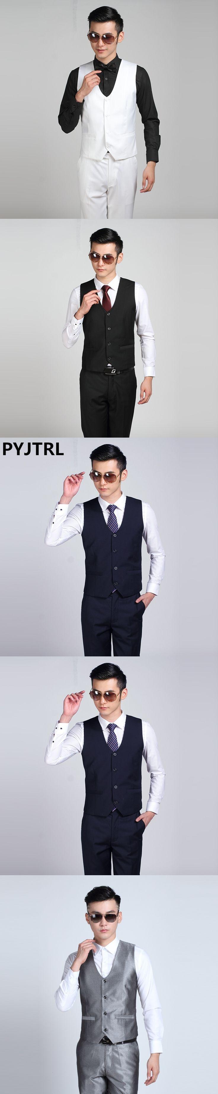 PYJTRL 2017 New Mens Fashion Suit Vest Male Korean Casual Business Shiny Black White Silver Red Navy Blue Gray Purple Waistcoat