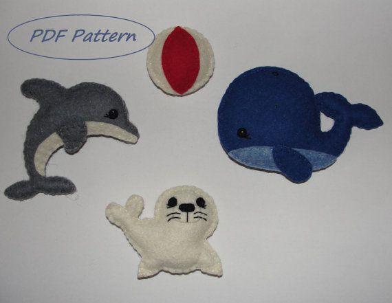 Lovely Felt Sea Set Magnet Sewing Pattern Seal by NitaFeltThings