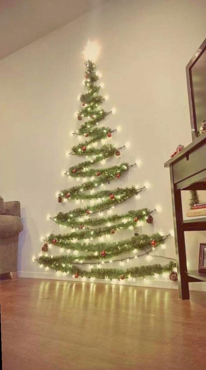 12 Christmas Lights Ideas Wall Wall Christmas Tree Small Space Christmas Tree Easy Christmas Decorations