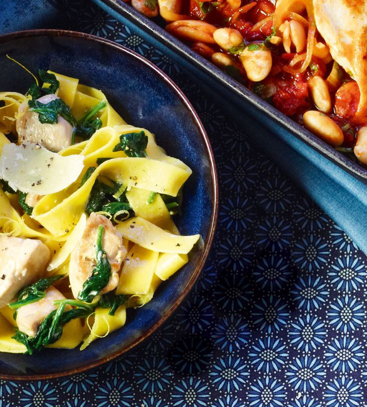 Creamy chicken, lemon and spinach pappardelle
