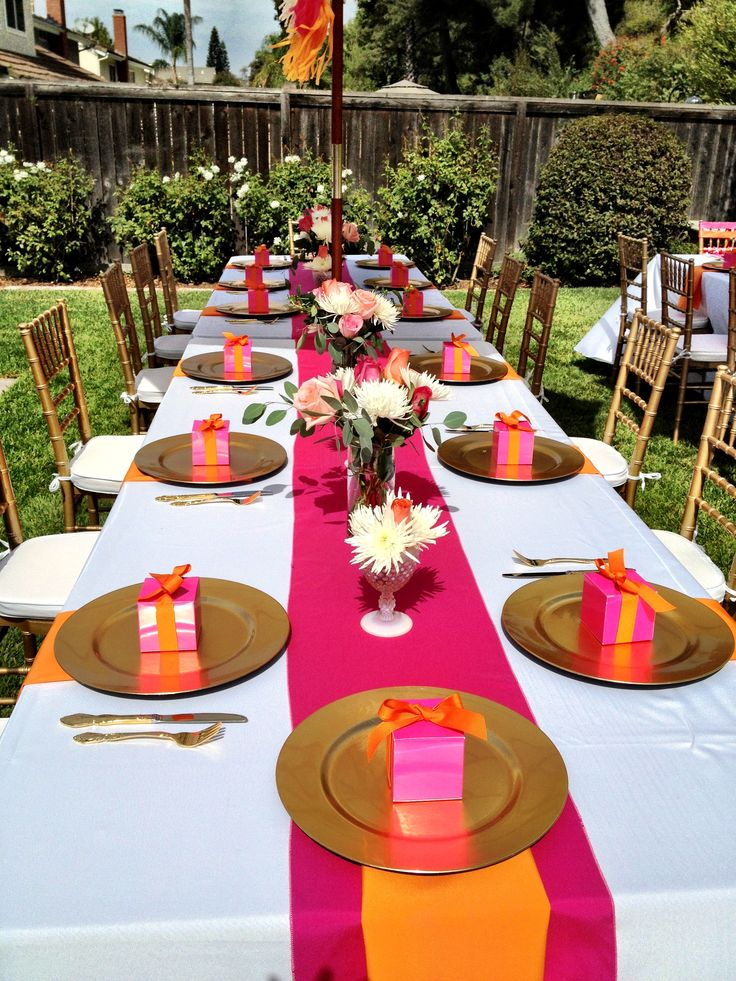 Bright Pink And Orange Bridal Shower Table Parties