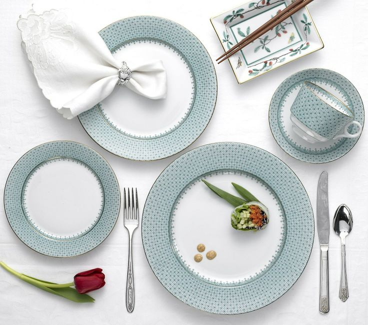 Popular China Patterns Part - 25: Mottahedeh Green Lace Place Setting: The Very Popular Bridal Pattern Blue  Lace