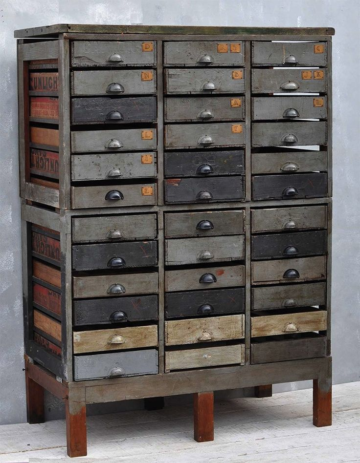 Once at home on the factory floor, this vintage industrial giant makes for an ideal storage solution. Each drawer in this one off piece was fashioned from old Sunlight soap wooden crates. Vintage rustic unique crate multidrawer from Homebarn.