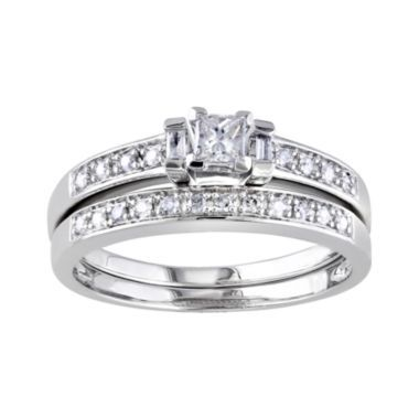 Elegant Needs a larger center stone CT T W Diamond Sterling Silver Bridal Ring Set