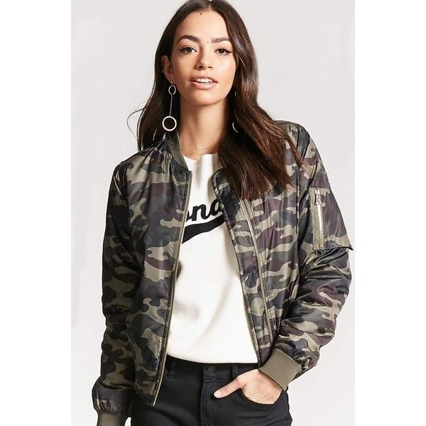 Forever21 Camo Print Bomber Jacket ($17) ❤ liked on Polyvore featuring outerwear, jackets, camouflage jacket, forever 21 jackets, long sleeve jacket, camo bomber jacket and camo utility jacket