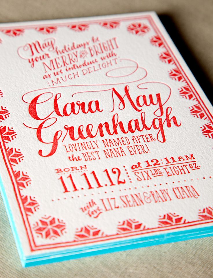 Little Clara May's Holiday Arrival! Bright red ink with cyan edge painting.  Hand drawn and printed by Ladyfingers Letterpress.