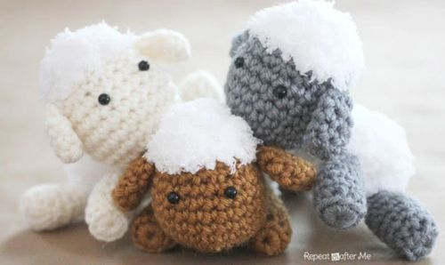 """Lamb Baby Mobile Free Crochet Pattern 