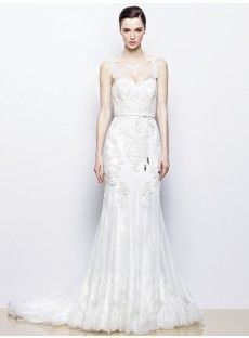 Court Train Tulle Sheath Column Wedding Dress