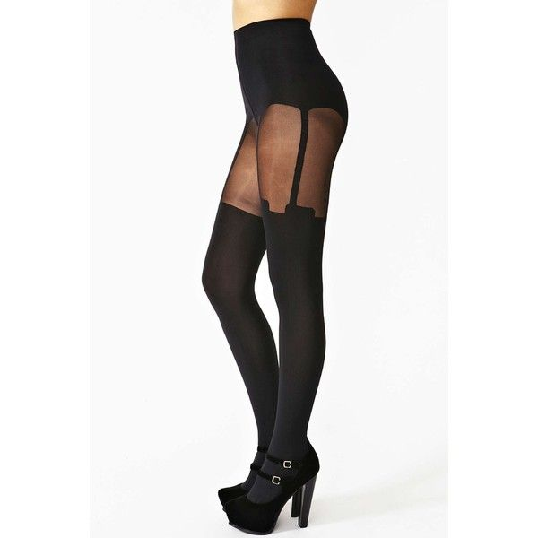 House Of Holland Super Suspender Tights ($30) ❤ liked on Polyvore featuring intimates, hosiery, tights, bottoms, leggings, accessories, black, black stockings, house of holland tights and black suspender tights