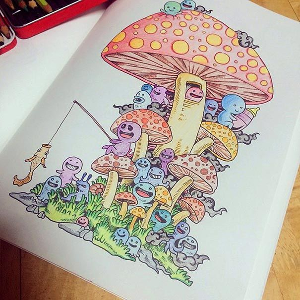 Source: Doodle Invasion Coloring Book {link: https://www.behance.net/gallery/12030591/Doodle-Invasion-Coloring-Book}