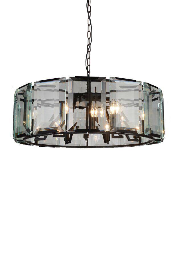Monaco 12 light Polished Nickel Chandelier Clear Glass Crystal