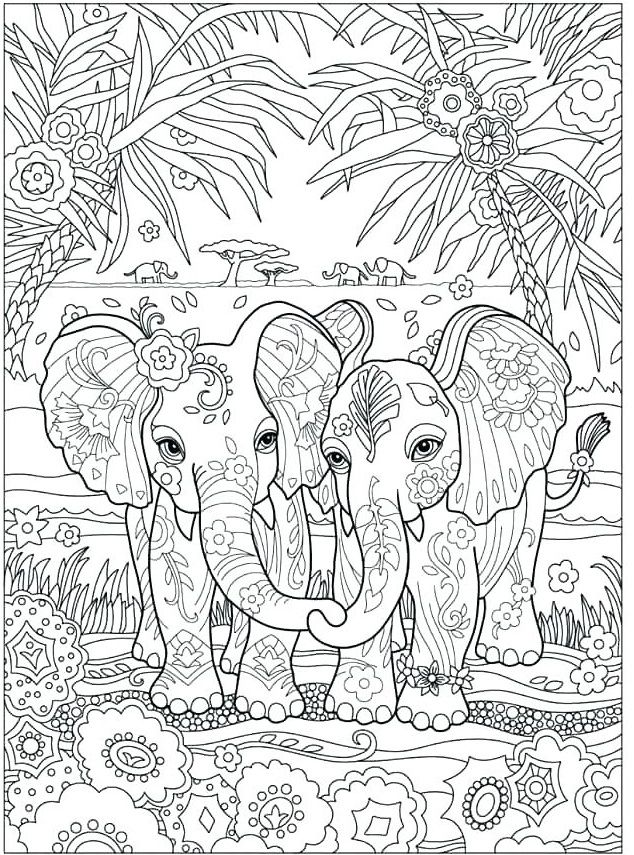 Free Elephant Coloring Pages For Adults To Print Elephant