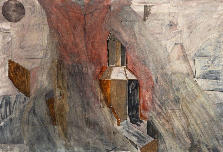 Jan-Kenneth Weckman: Taloja, sekatekniikka, 59x68 cm - Hagelstam K133