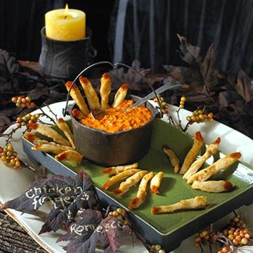 #halloween partyAdult Halloween, Halloween Parties Ideas, Halloween Party Ideas, Dips Sauces, Dipping Sauces, Chicken Fingers, Halloween Food, Halloween Appetizers, Romesco Dips