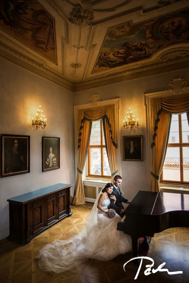 Gorgeous bride and groom in @lobkowicz palace in @prague