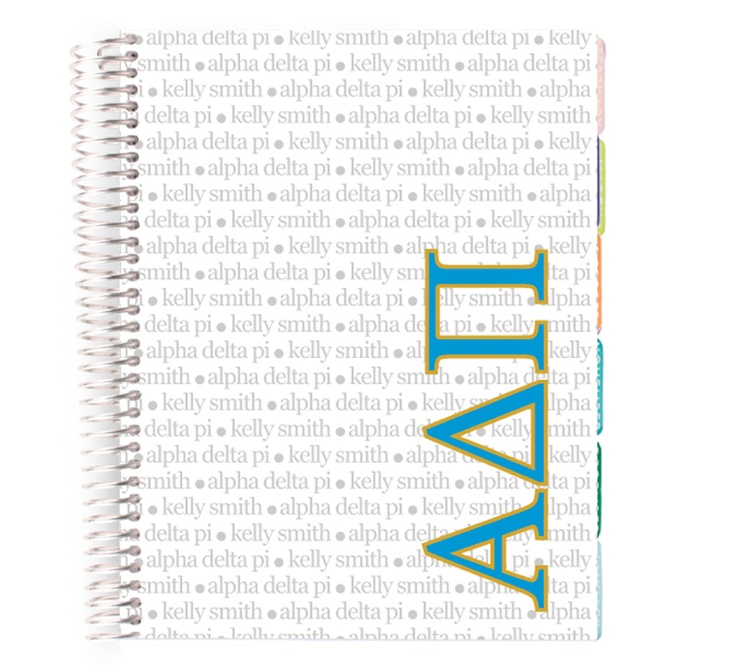 The famous Erin Condren Life Planner is now available with the beautiful ADPI letters and colors!! Take advantage of the offer, ladies!