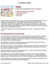 A Teacher's Guide for Vote!, the children's book by Eileen Christelow http://www.teachervision.fen.com/nonfiction/printable/56006.html (Grades 3-5) #kidlit #elections
