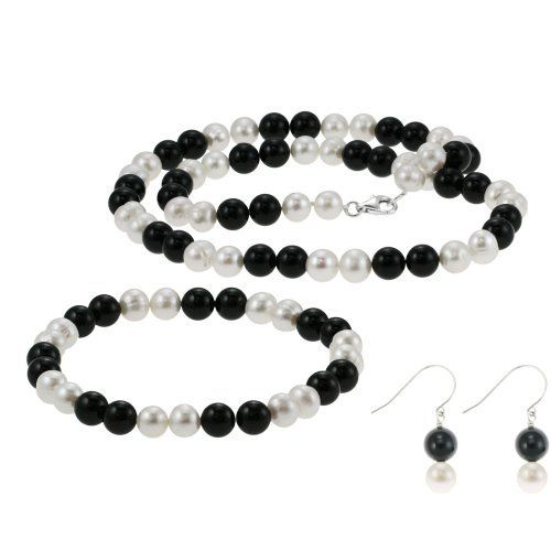 "Sterling Silver 7-8mm Freshwater Cultured Pearl and Black Onyx 3 Piece Set Amazon Curated Collection. $53.00. Necklace: 18"" length of earrings 1.25"" Length of bracelet: 8"". Made in China. Save 41%!"