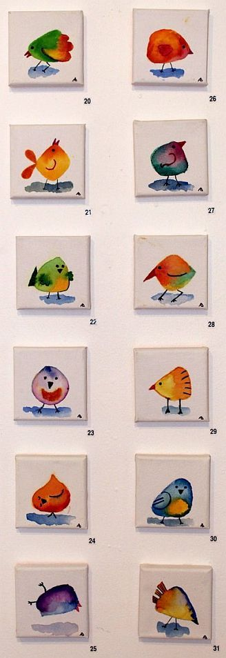 Artist Anne Balcomb 'Birdie' series 10 x 10cm Allsorts exhibition 19 March - 12 April 2015, Strathnairn Arts