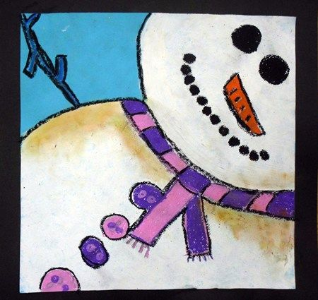 "From exhibit: 4th Grade Snowmen at Night -  After studying the color qualities illustrated in the snow and snowmen in the books ""Snowmen at Night"" and ""Snowmen at Christmas,"" fourth grade students created their own snowmen at night. We learned about cropping while creating the initial composition, and then painted all the snow with white tempera paint. Oil pastel was used to color the details, and chalk pastel was applied to the snow to give it that beautiful, colorful snowy look!"