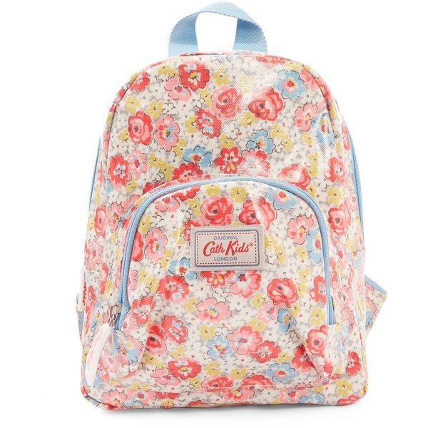 Cath Kidston Mini Light Blue Orchard Ditsy Backpack ($21) ❤ liked on Polyvore featuring bags, backpacks, strap backpack, pink bag, woven backpack, zipper bag and pink backpack