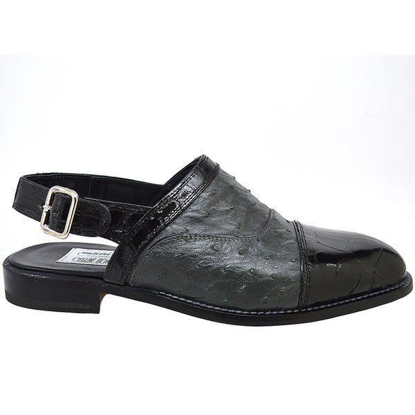 MAURI 4536 Alligator-Ostrich Black Half Shoe