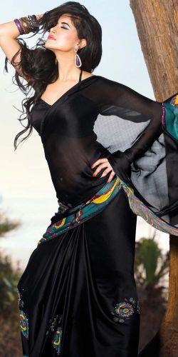 Black Faux Georgette Saree #saree #sari #blouse #indian #outfit #shaadi #bridal #fashion #style #desi #designer #wedding #gorgeous #beautiful